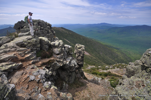 A hiker on Franconia Ridge in New Hampshire's White Mountains.
