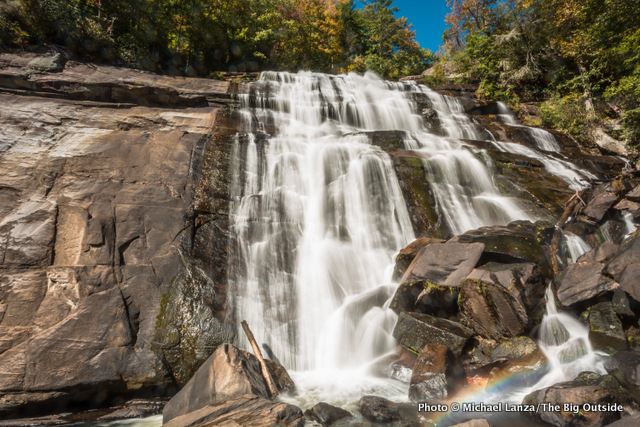 Rainbow Falls, in the Pisgah National Forest and Gorges State Park, North Carolina.