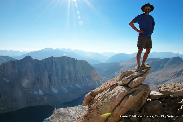 A backpacker at Trail Crest on the John Muir Trail, Mount Whitney.