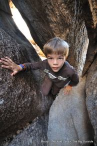 Scrambling in Ryan Campground, Joshua Tree National Park.