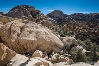 Hiking in the Wonderland of Rocks, Joshua Tree National Park.