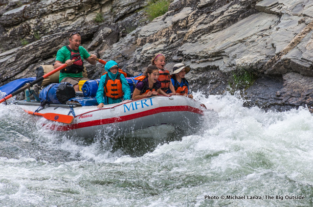 Rafting through Cliffside Rapid, Middle Fork of the Salmon River, Idaho.
