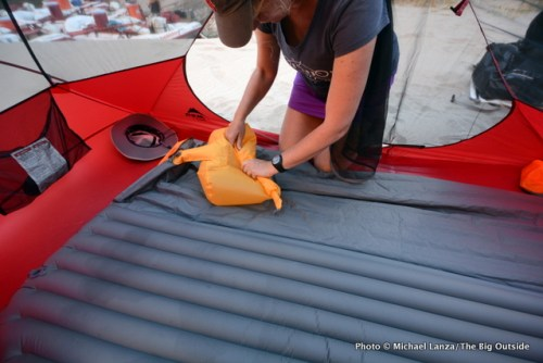 Inflating the Exped SynMat Hyperlite Duo air mattress.