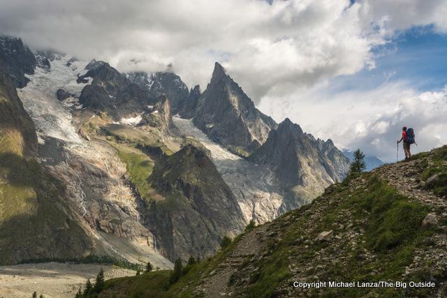 Hiking toward Courmayeur, Italy, on the Tour du Mont Blanc.