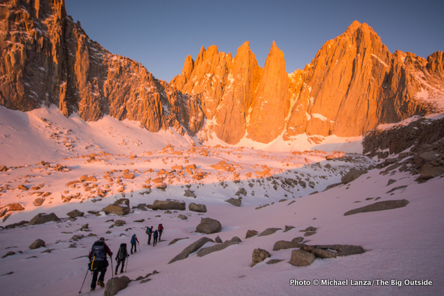 Climbers below the East Face of California's Mount Whitney.