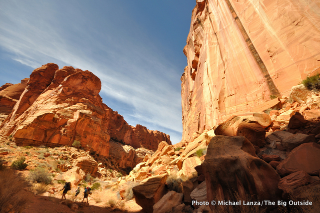Backpacking in Chimney Rock Canyon, Capitol Reef National Park.