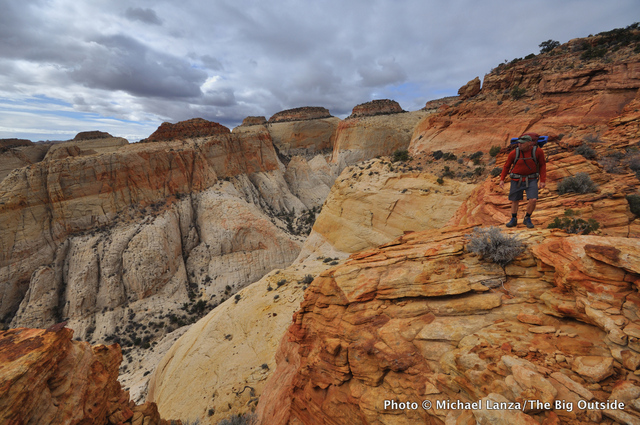A backpacker on the Beehive Traverse in Capitol Reef National Park.