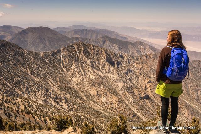 Rosie Mansfield on the summit of Telescope Peak, Death Valley National Park.