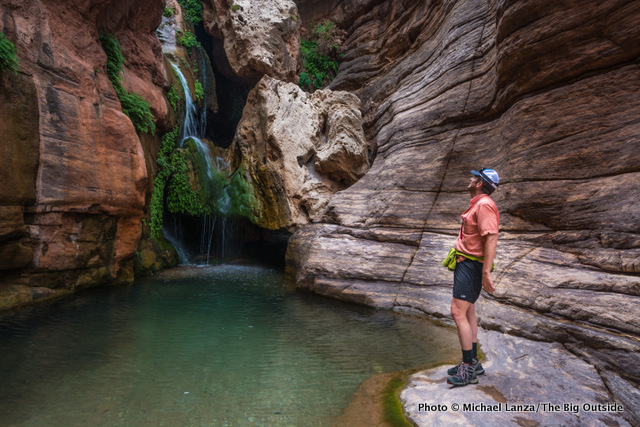 A backpacker in Elves Chasm on the Grand Canyon's Royal Arch Loop.
