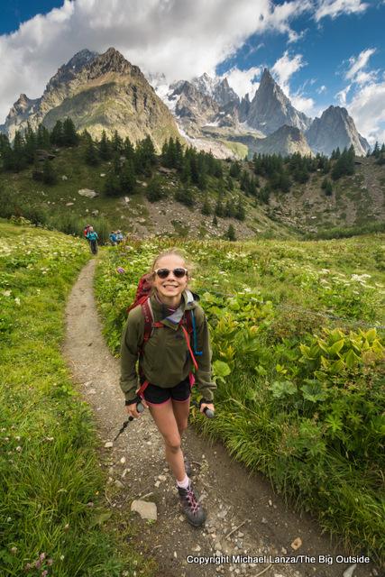 Teenage girl trekking the Tour du Mont Blanc.