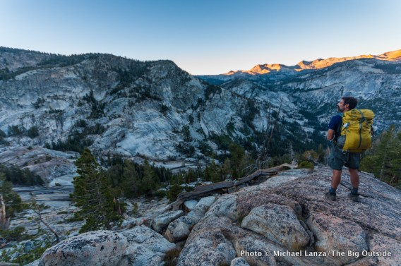 Dawn above Lyell Fork Canyon of Merced River.