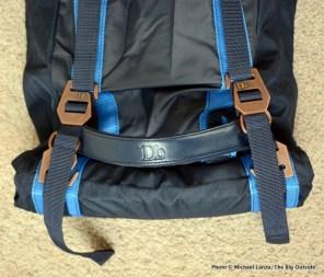 The Douchebag Ski Bag top handle and rolled end.