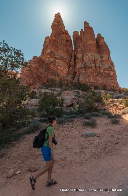 Jasmine Wilhelm hiking the Chesler Park Trail, Needles District, Canyonlands.