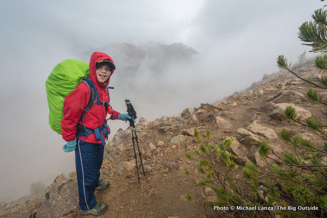 My son, Nate, on a rainy day in Idaho's White Cloud Mountains.