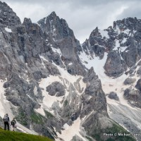 Trekking Trail 749 below the Pale di San Martino, Dolomite Mountains, Italy.