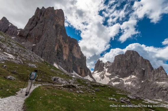 The Alta Via 2 near Rifugio Rosetta, Parco Naturale Paneveggio Pale di San Martino, Dolomite Mountains, Italy.