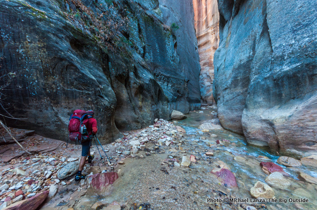 David Gordon backpacking The Narrows, Zion National Park.