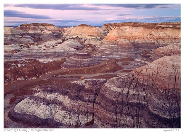 Blue Mesa basin at dusk, Petrified Forest National Park.
