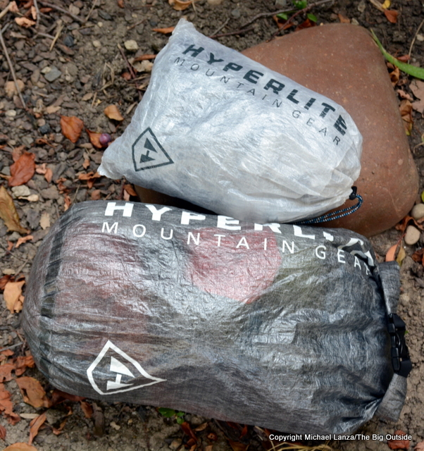 Hyperlite Mountain Gear DCF8 and DCF Roll-Top stuff sacks.