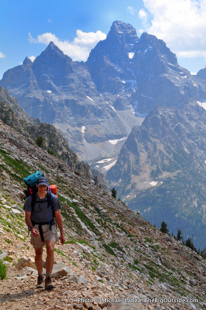 Bill Mistretta backpacking the Teton Crest Trail above North Fork Cascade Canyon.