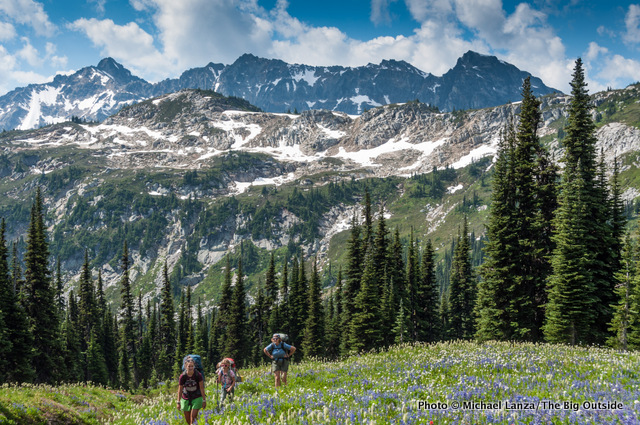Backpackers on the Spider Gap-Buck Creek Pass Loop in the Glacier Peak Wilderness.