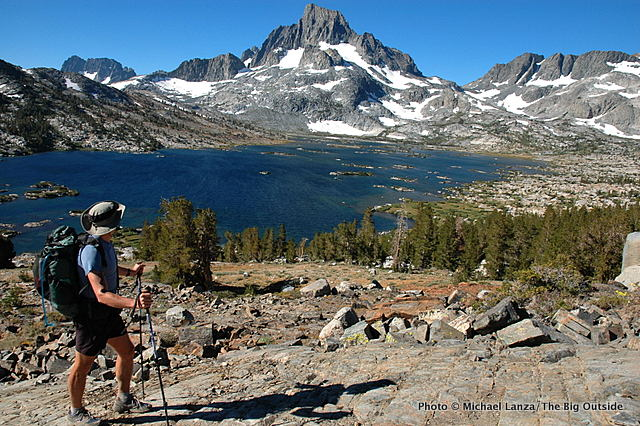 A backpacker above Thousand Island Lake on the John Muir Trail.