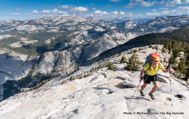 Todd Arndt hiking Clouds Rest, Yosemite National Park.