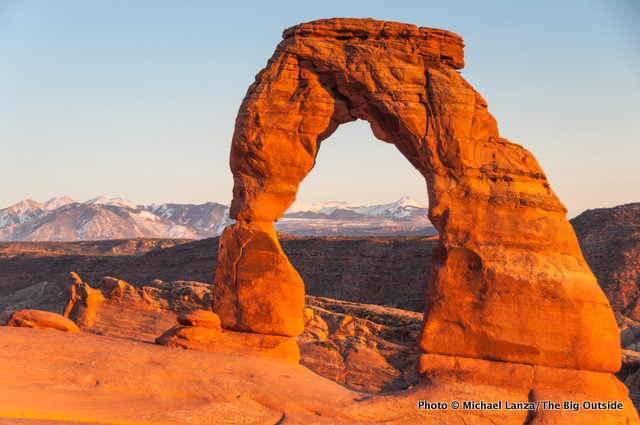 Delicate Arch at sunset, Arches National Park, Utah.