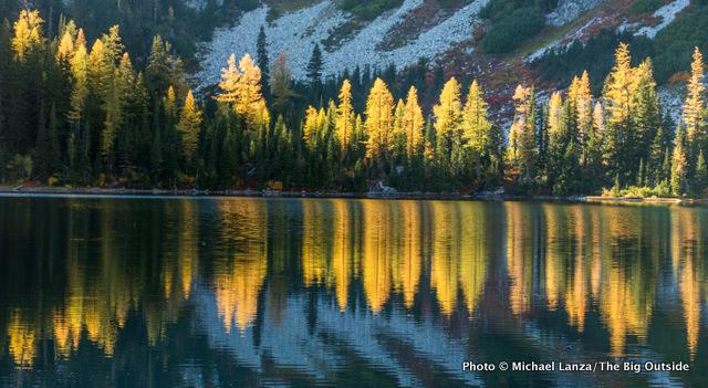 Sunset at Rainbow Lake, North Cascades National Park Complex, Washington.