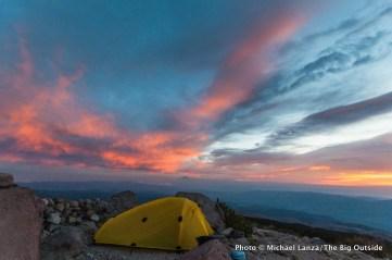 Sunrise at Cooper Spur campsite, Timberline Trail, Mount Hood, Oregon.