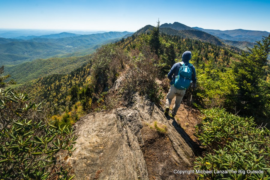 A hiker on the Black Mountain Crest Trail up North Carolina's Mount Mitchell.