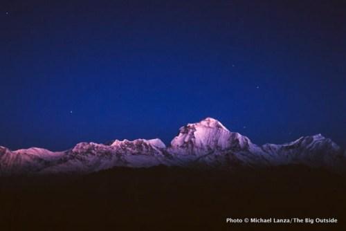 Predawn light on Dhaulagiri, along Nepal's Annapurna Circuit.