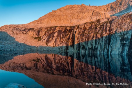 Dusk alpenglow at Precipice Lake in Sequoia National Park.
