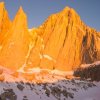 Climbers below the East Face of Mount Whitney, California.