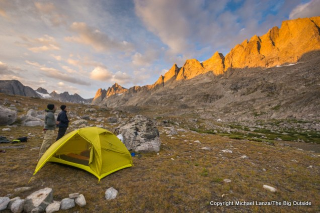 Sunset at a campsite in Titcomb Basin, Wind River Range, Wyoming.