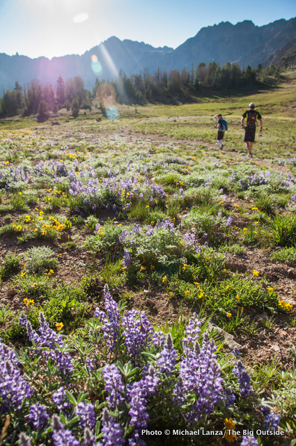 Hikers on a 28-mile dayhike in Idaho's White Cloud Mountains.