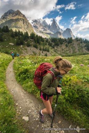 Hiking above the Val Veny on the Tour du Mont Blanc.