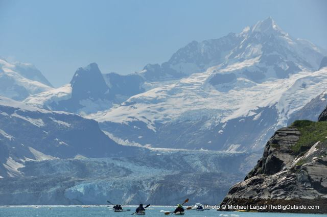 Sea kayakers in Johns Hopkins Inlet, Glacier Bay National Park.
