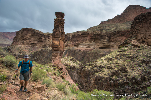 David Ports hiking between Hermits Rest and the Bright Angel Trail, Grand Canyon.
