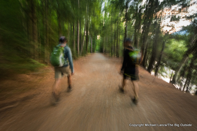 Mark Fenton and David Ports hiking the Lincoln Woods Trail, White Mountains, N.H.