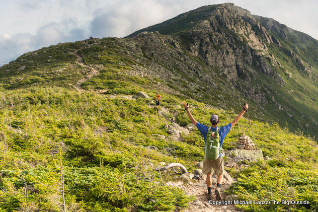 A hiker on a dayhike of the 32-mile Pemi Loop, White Mountains, N.H.