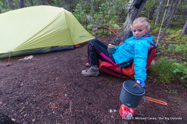 Hell Roaring Lake campsite, Sawtooth Mountains, Idaho.