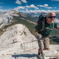 Hiking Half Dome's cable route, Yosemite National Park.