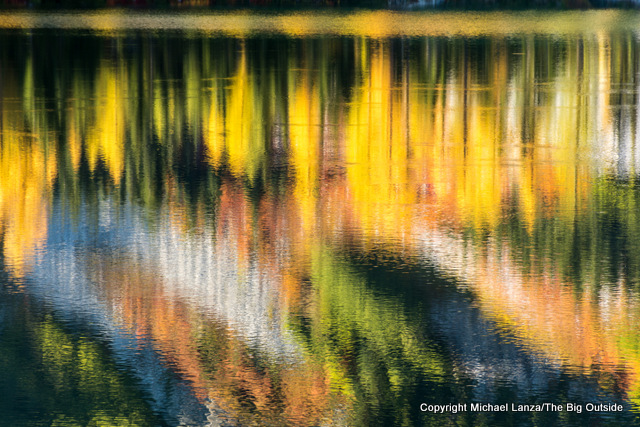 Larch trees reflected in Rainbow Lake, Lake Chelan National Recreation Area.