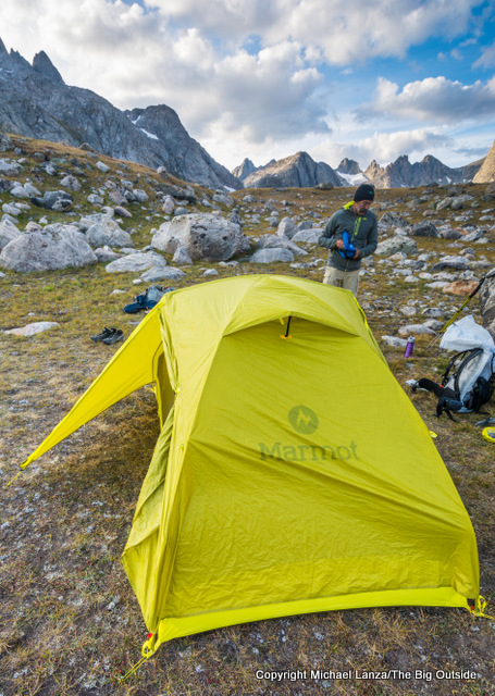 Campsite in Titcomb Basin, Wind River Range.