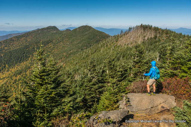 A hiker on the Black Mountain Crest Trail to Mount Mitchell, Pisgah National Forest, North Carolina.