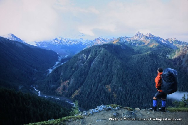 A backpacker on Mount Rainier National Park's Northern Loop.