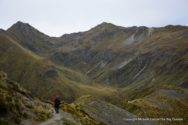 Hiking the Kepler Track above Forest Burn, Fiordland National Park.