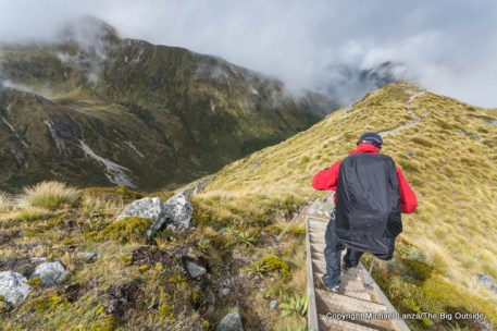 Hiking the Kepler Track below Hanging Valley shelter, Fiordland National Park.