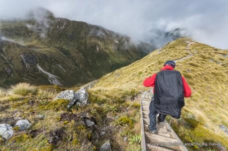 Hiking the Kepler Track below Hanging Valley shelter, Fiordland National Park.